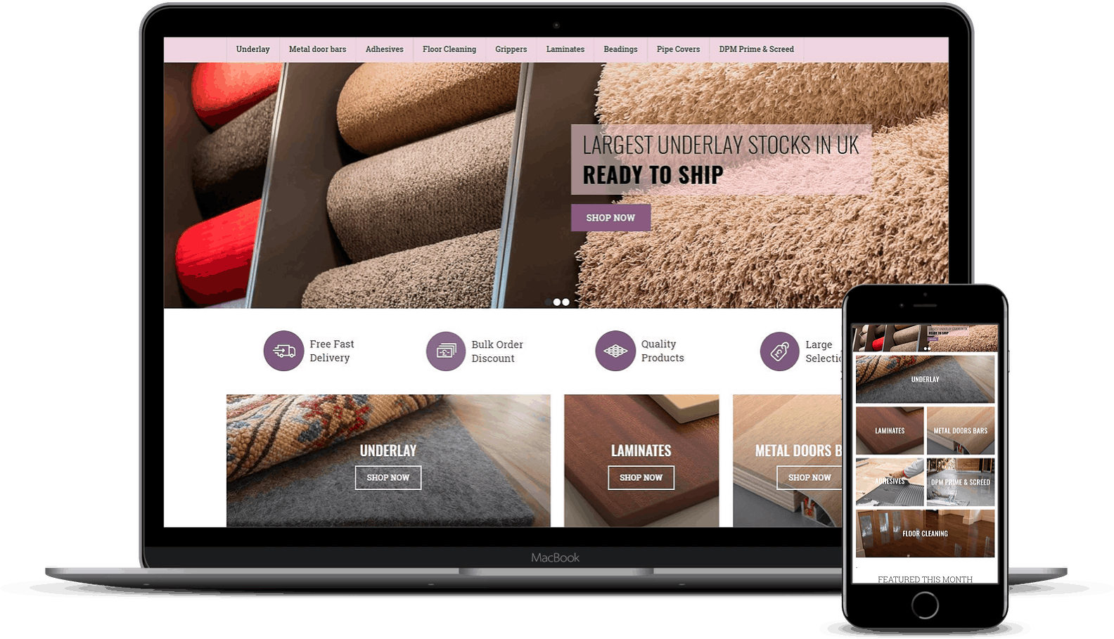Responsive Website Design Showing ECommerce Website On Laptop And Mobile