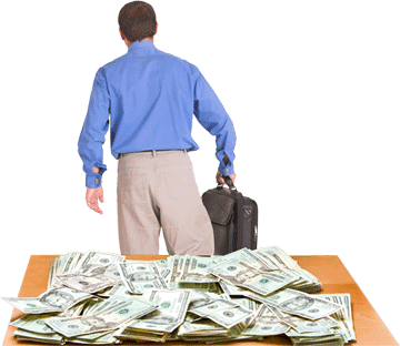 Man Walking Away Leaving Money On The Table