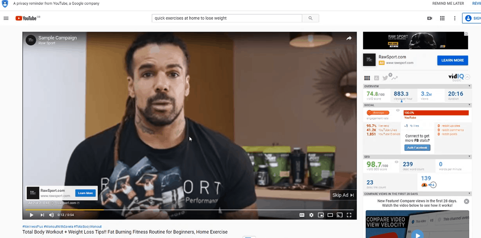 YouTube Pre Roll Ad Showing On Exercise Video For Nutrition Company