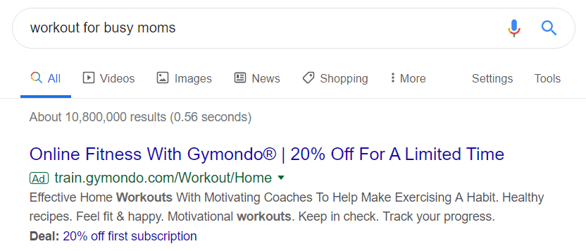 "Example Of Google Ads SHowing For Search Term ""Workouts"""