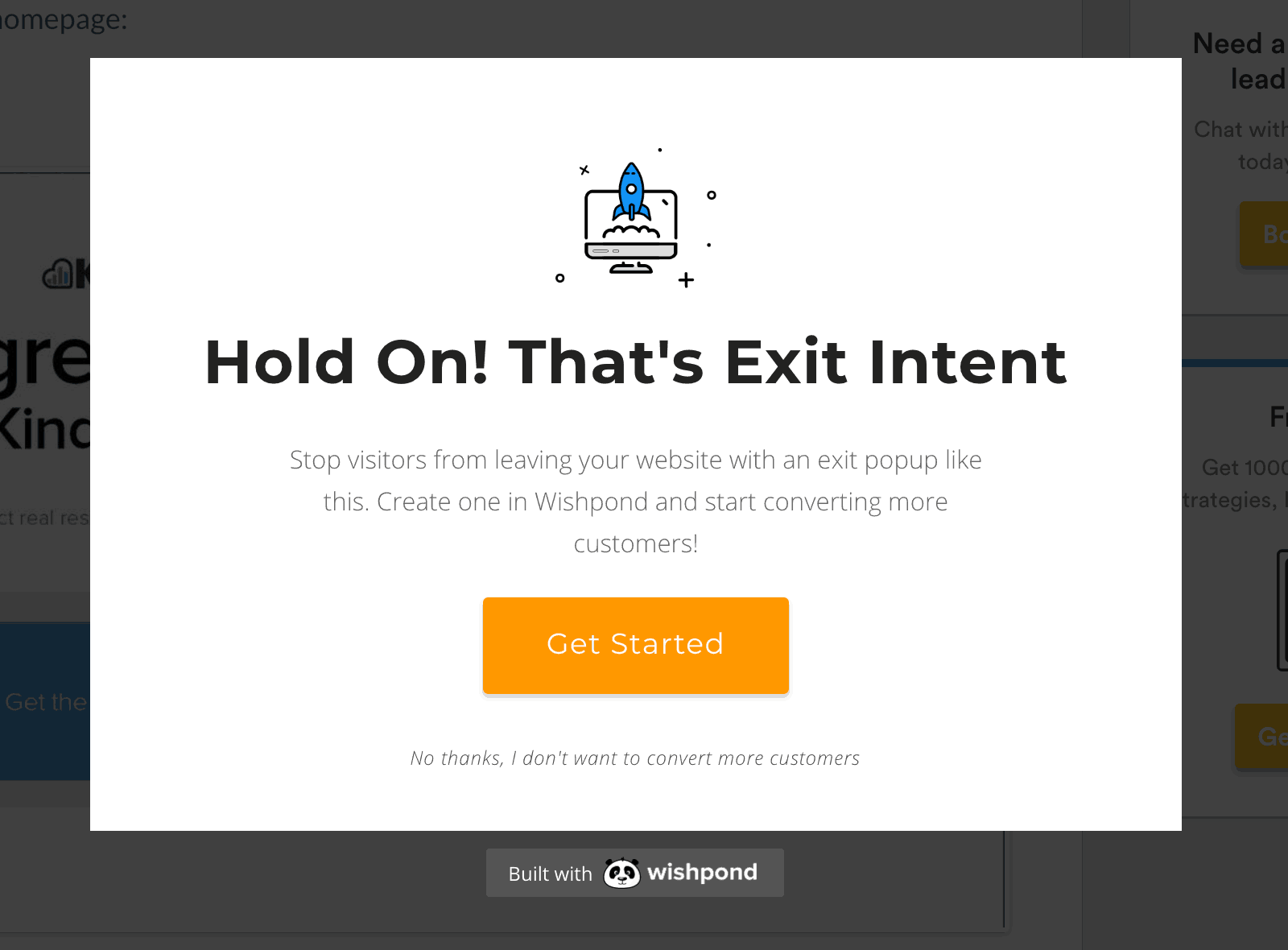 Exit intent popup WITH NO SIGHN UP FORM