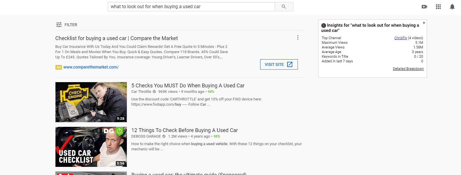 YouTube Ad keyword research for Car Dealers