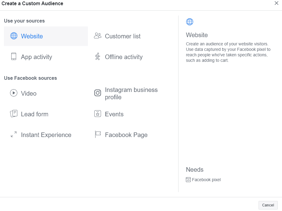 Create a Custom Audience Screen in Facebook Ads Manager