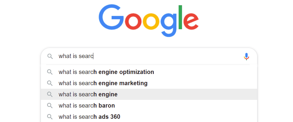 Google Autosuggest typing in what is search engine marketing