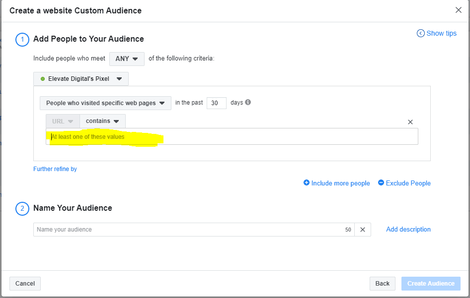Create a website custom audience