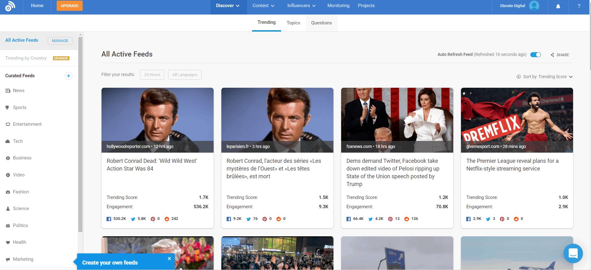 Screenshot of Buzzsumo Trending Feed