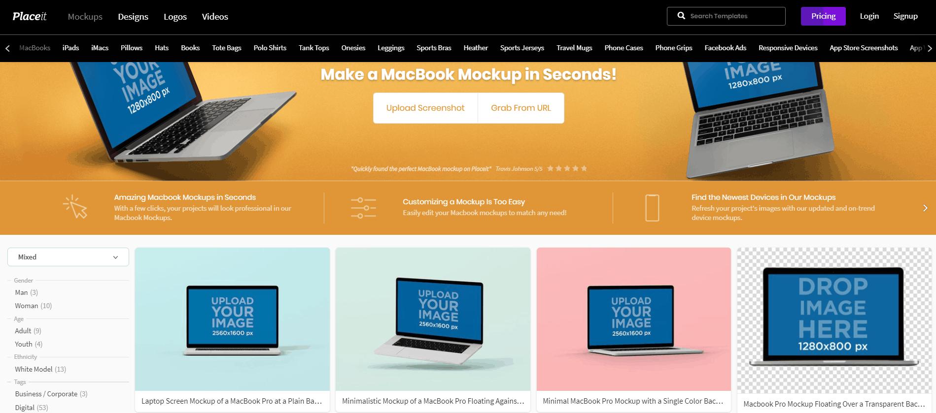 Screenshot of PlaceIt Laptop Mockups