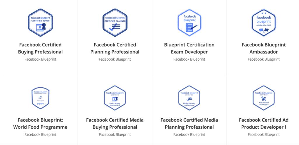 Screenshot Of Facebook Blueprint Courses selction