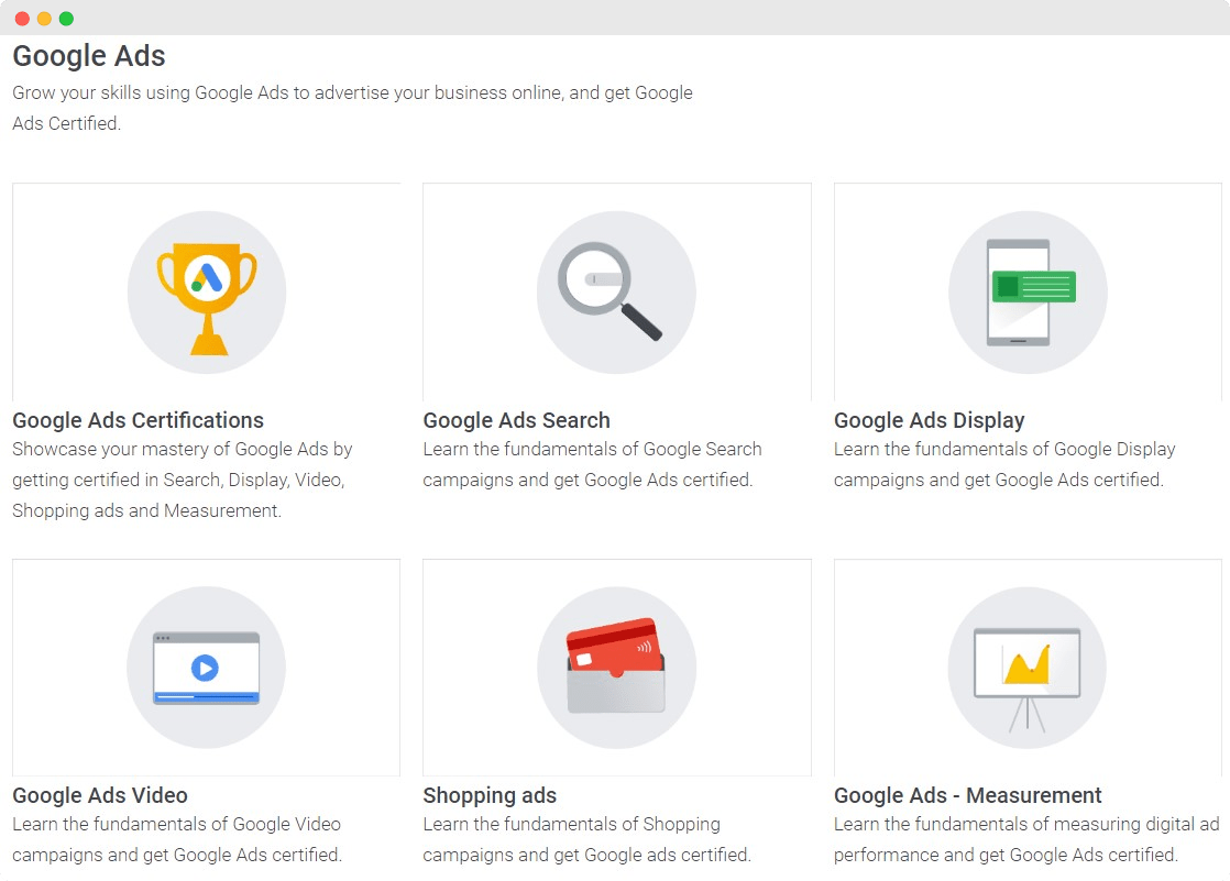 Screenshot of Google Skillshop Courses for Google Ads