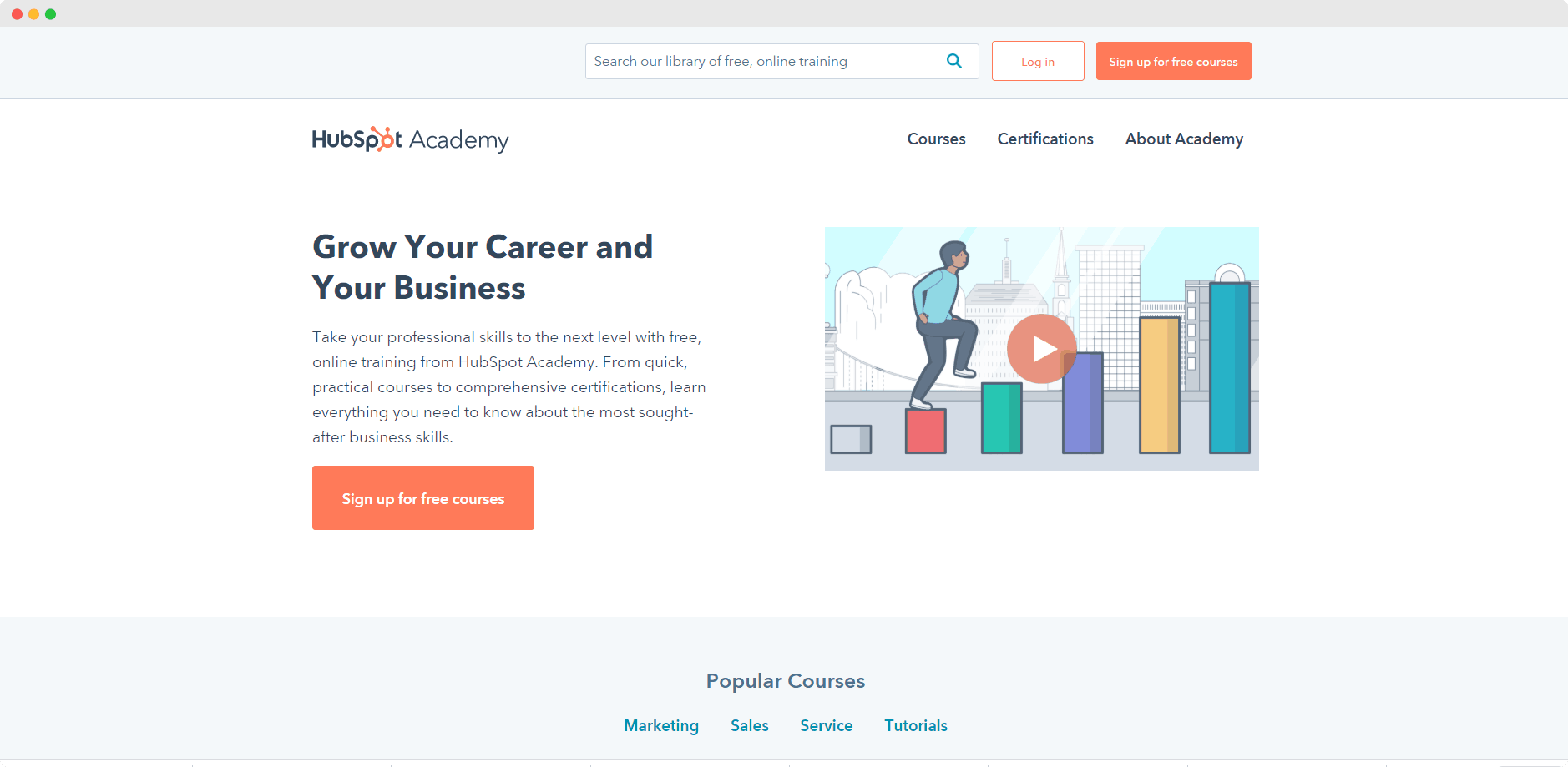 Screenshot of Hubspot Academy Homepage with CTA to sign up
