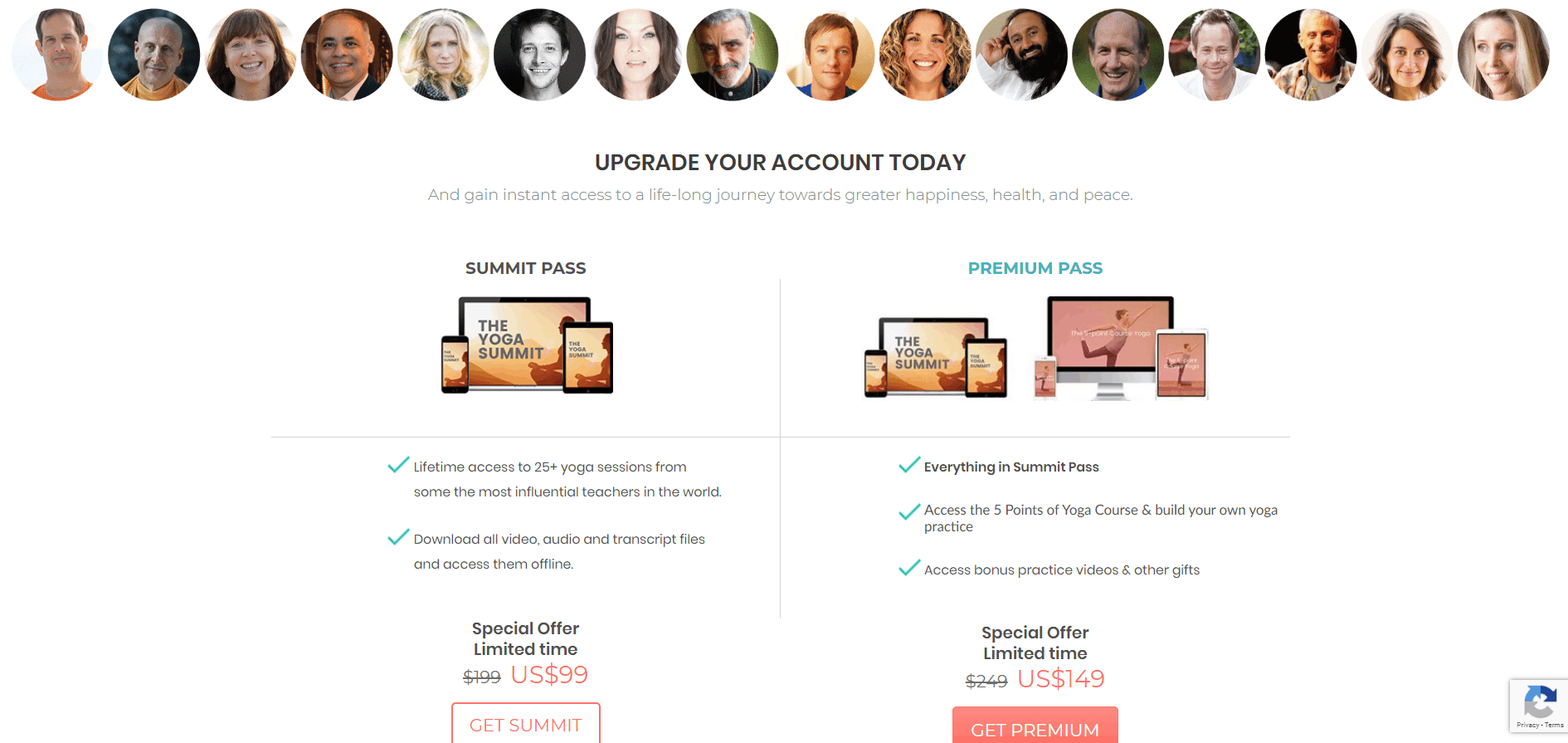 Image of Virtual Event or Online Summit Speakers line-up with call to action for Premium Access upgrade and access recordings