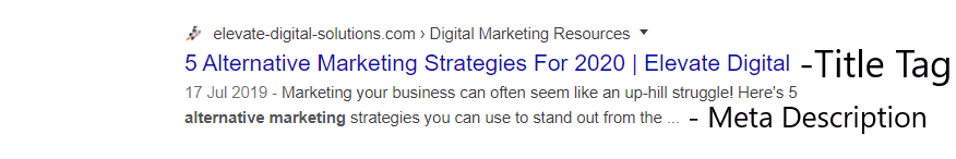 Example of Title Tag and Meta Description in Google Search