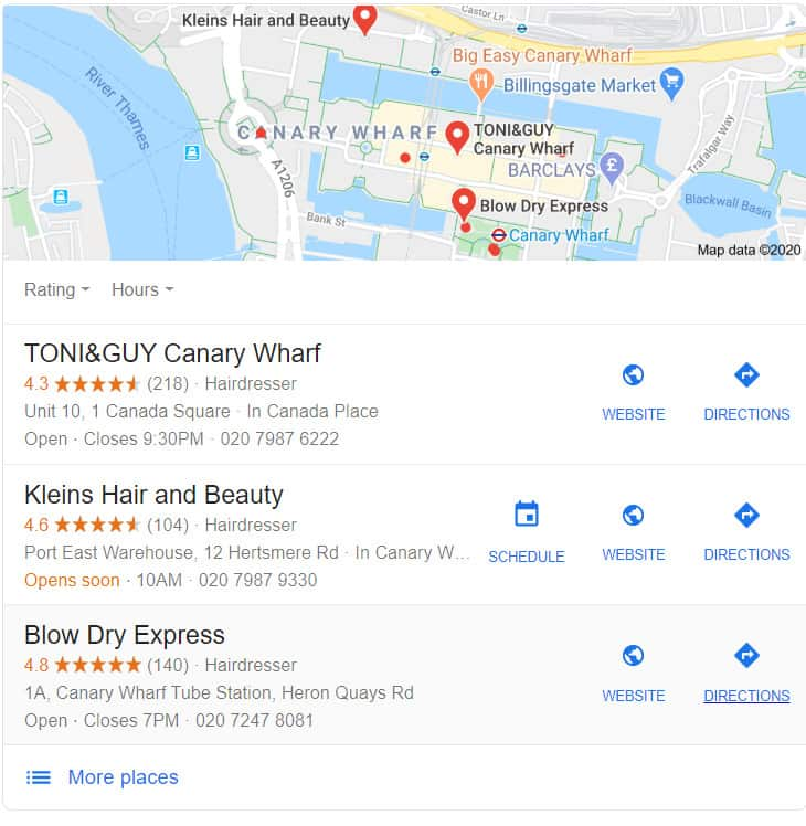 Google Local Search Results for Hairdressers