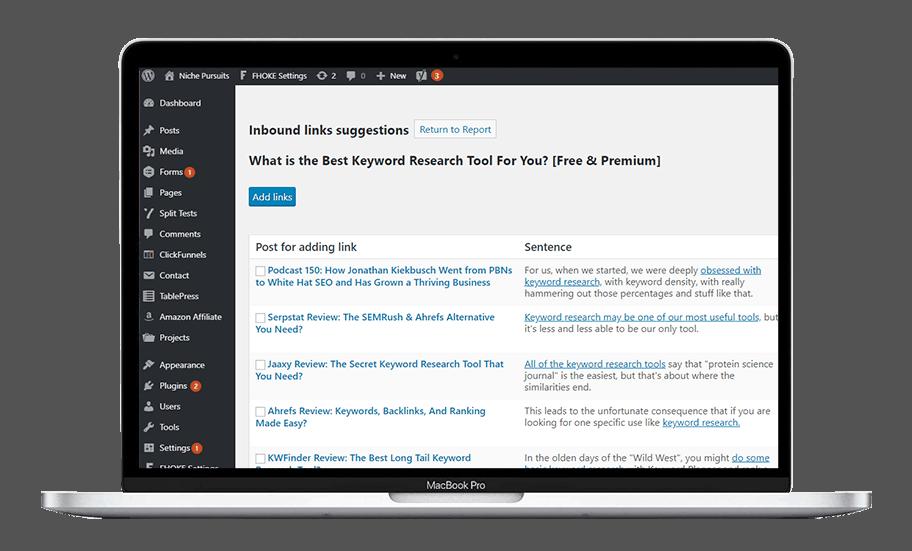Inbound links suggestions in WordPress Dashboard