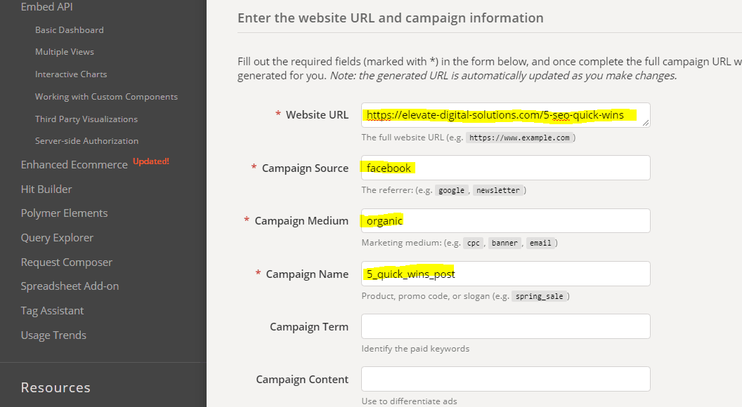 Google Campaign UTM Builder Showing Campaign Information Fields