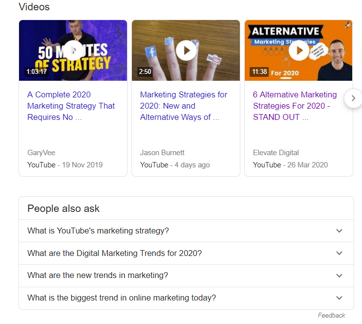 Search Engine Results Page showing video rich snippets from YouTube