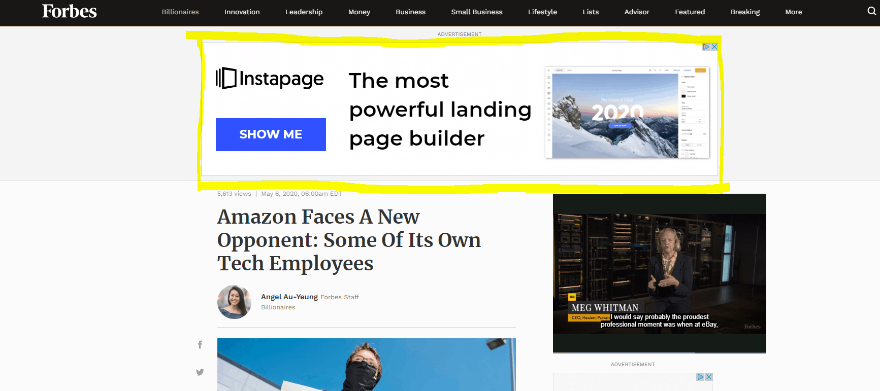 Image showing Instapage ad placement on Forbes blog