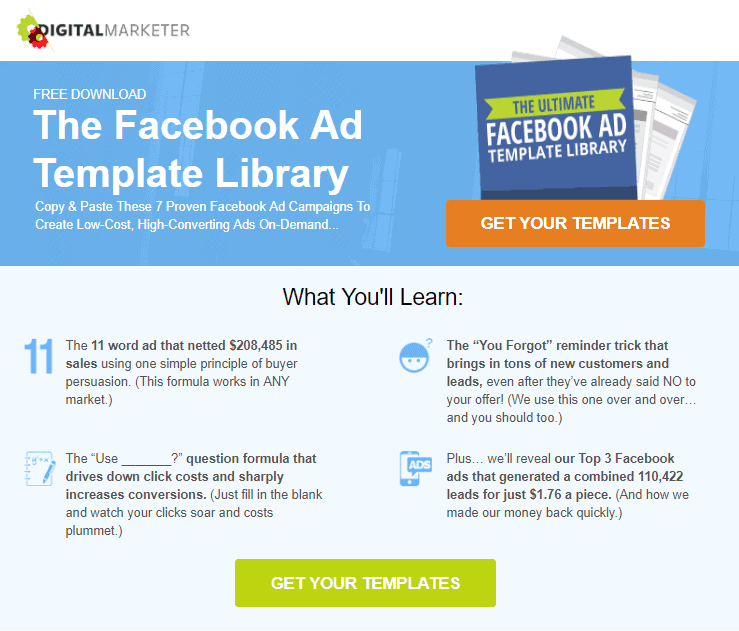 Digital Marketer Landing Page With Facebook Ad Libary Template Optimised To Increase Conversion Rate