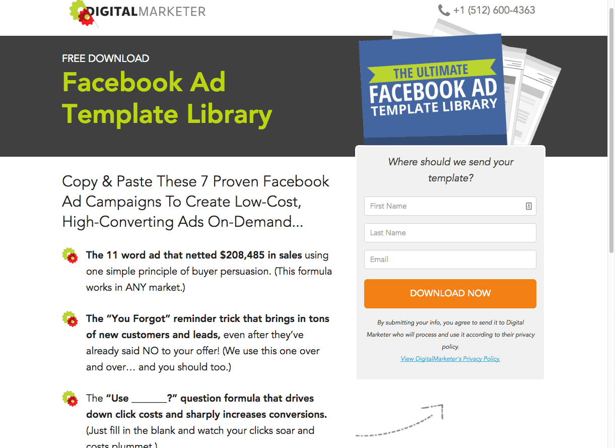 Digital Marketer Old Facebook Ad Template Library Landing Page