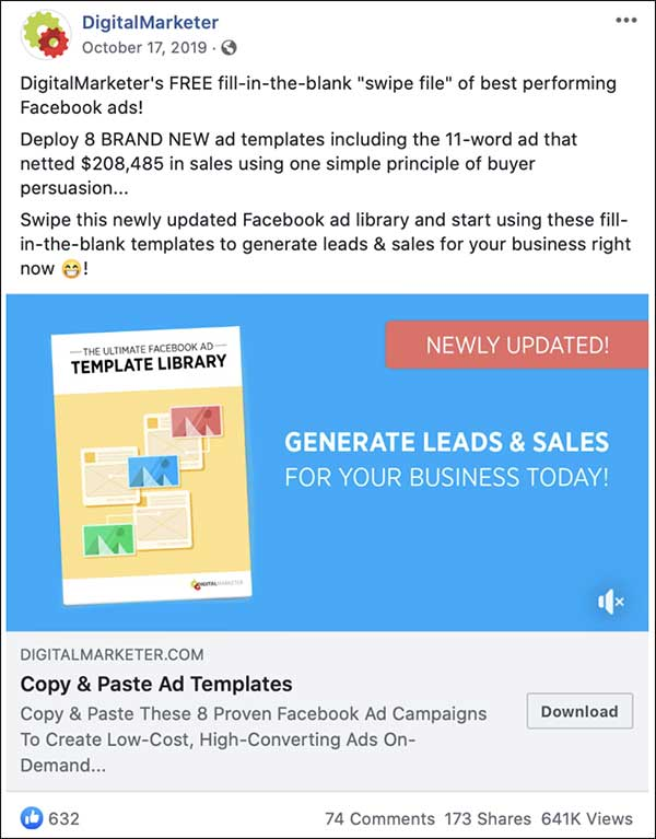Facebook Ad From Digital Marketer Facebook Ad Templates