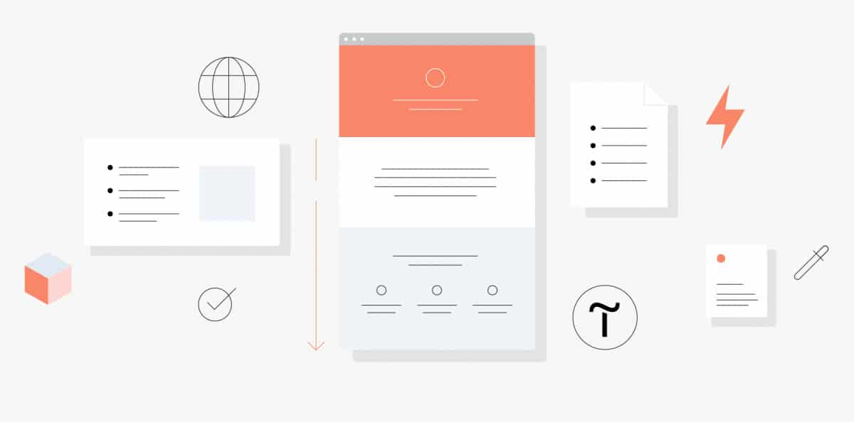 Different design elements of a landing page