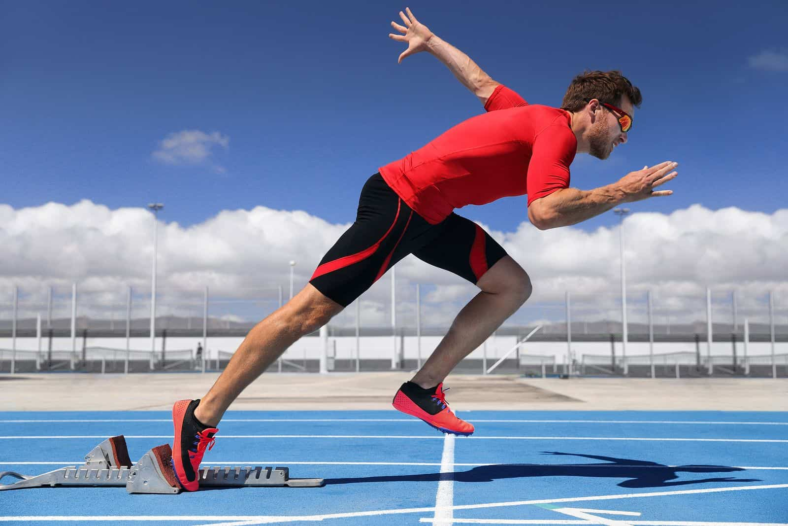 Athlete Male Running Off Starting Blocks