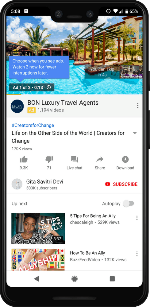 YouTube Pre-Roll Ads Mobile Example Showing Holiday Ad