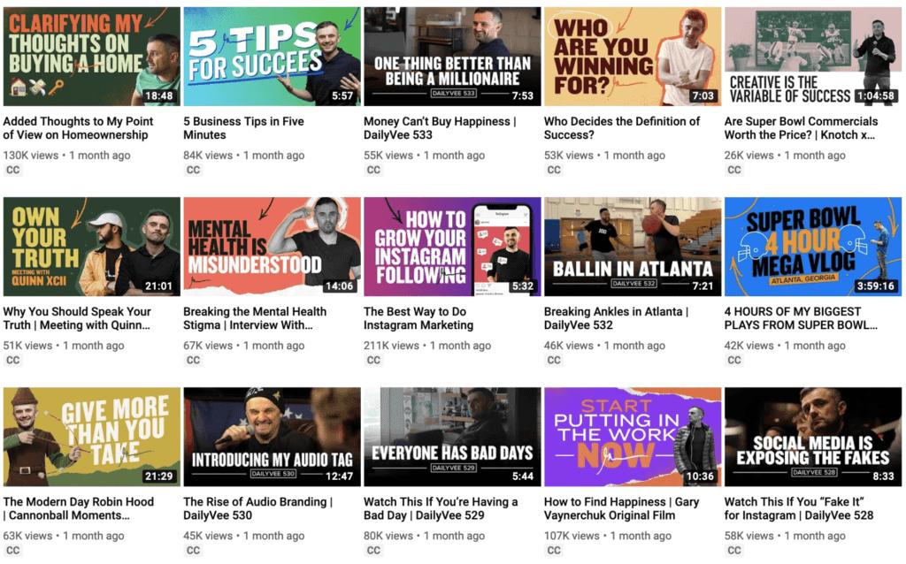 GaryVee YouTube Thumbnails - Content Marketing
