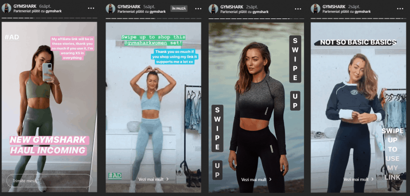 Gymshark Ambassador Program Example, IG Stories Share