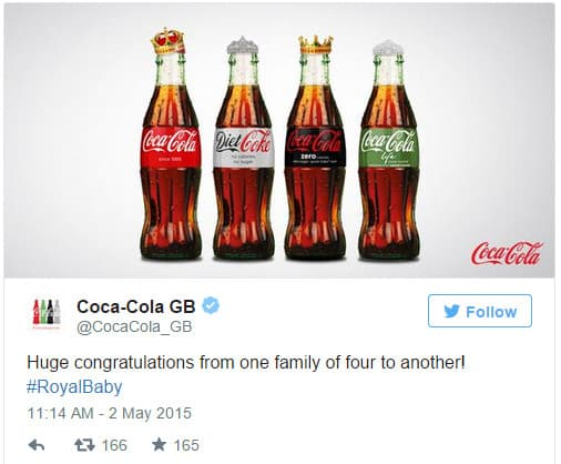 Coca Cola Tweet Royal Baby - Newsjacking Example