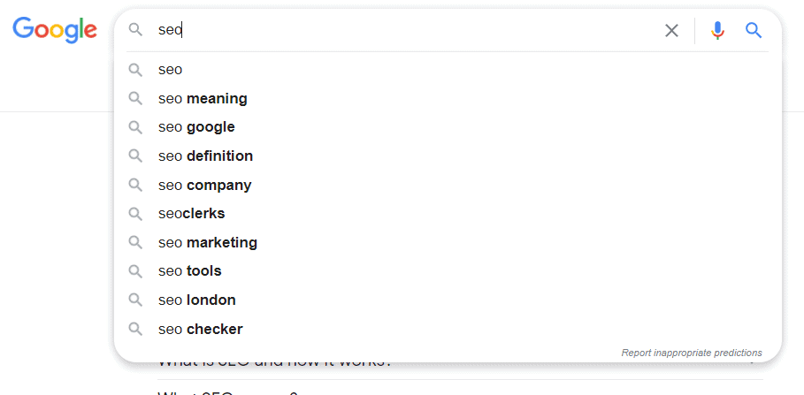 Google AutoSuggest with SEO search terms