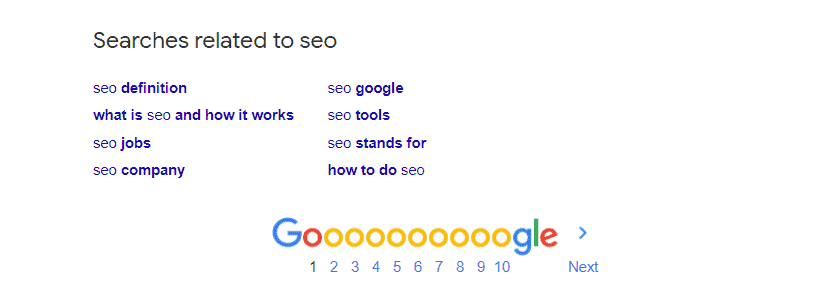 Example of Google related search terms for the word SEO