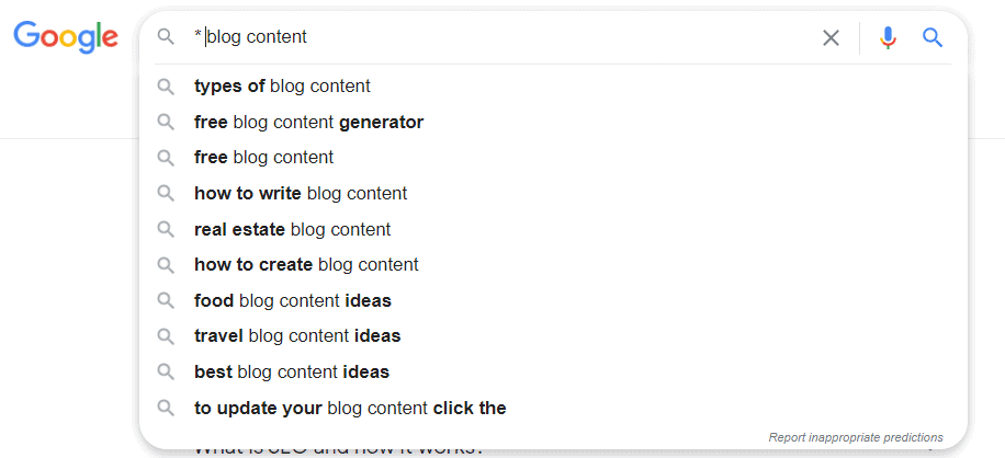 Google asterix autosuggest for keyword research