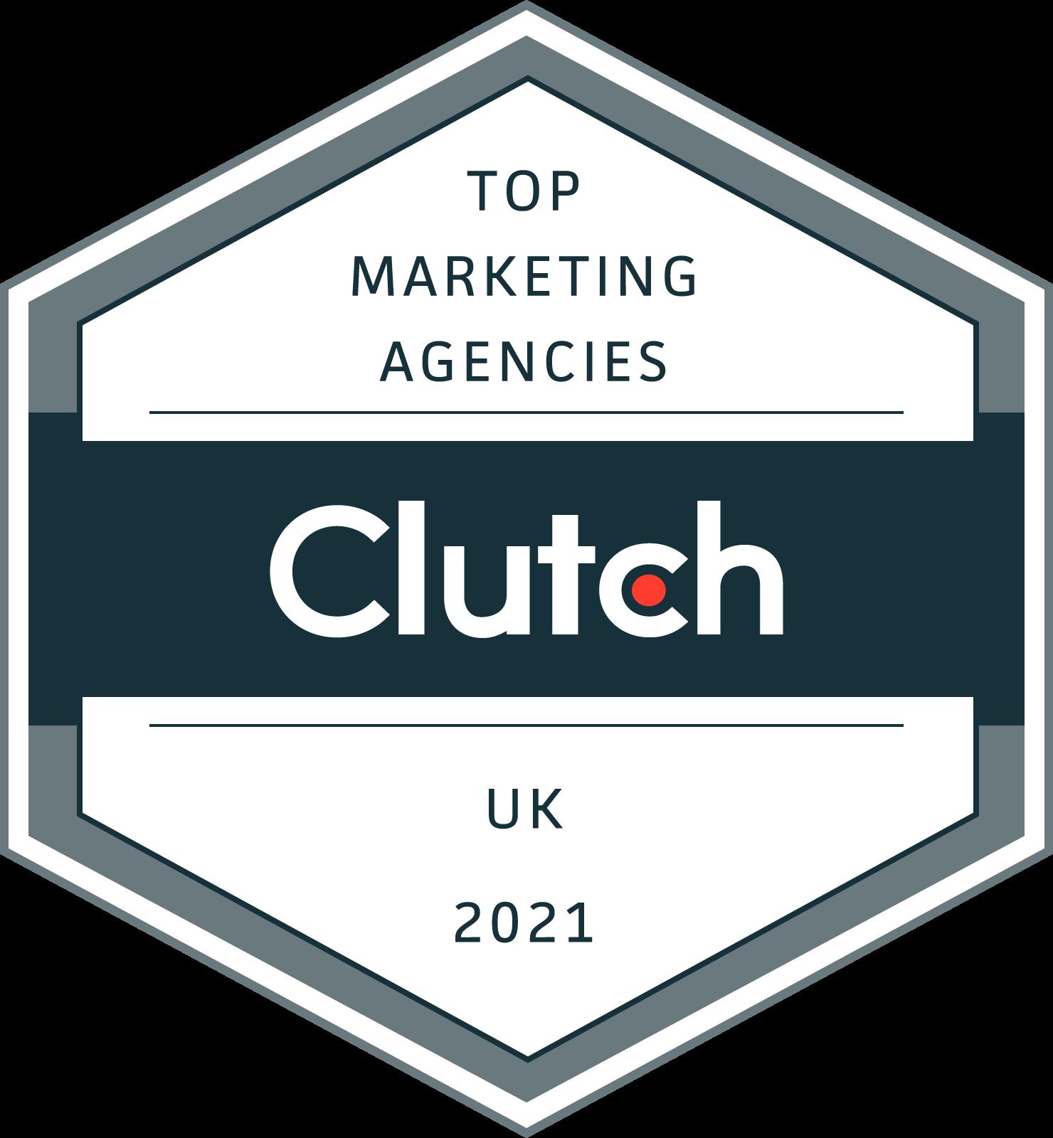 Top Marketing Agencies Award 2021 Clutch For Elevate Digital