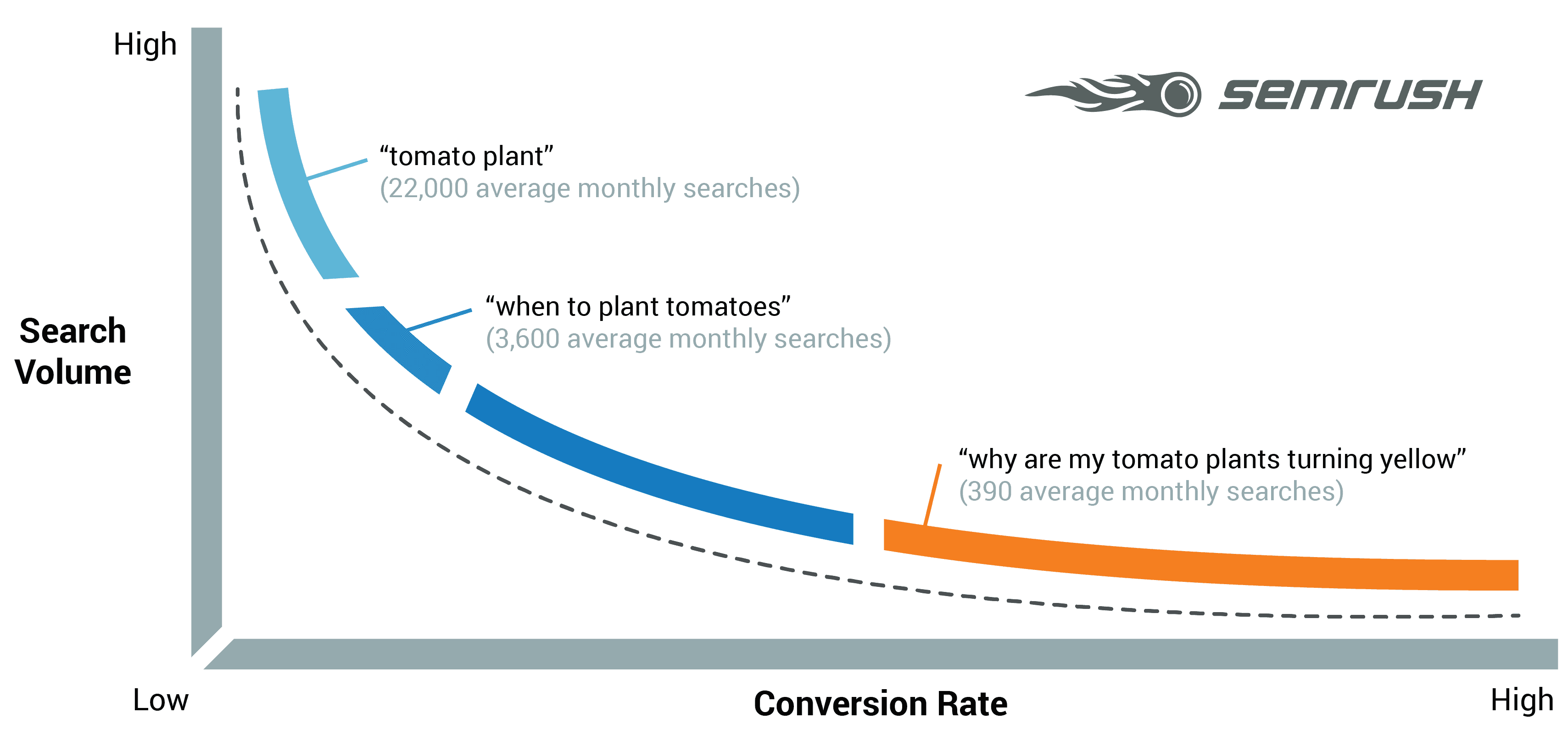 Long-tail VS Short-tail keywords graph