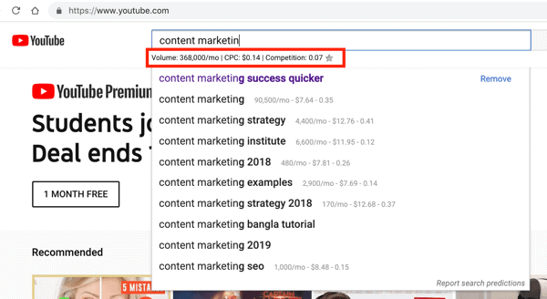 Keywords Everywhere search results in YouTube